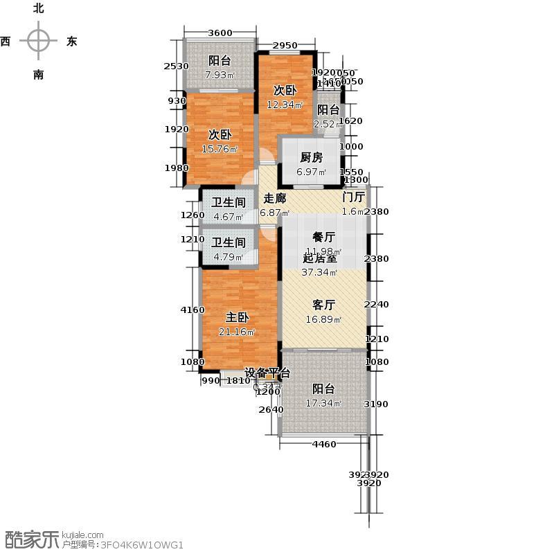 滇池卫城蓝调公元三房二厅二卫-117平方米户型