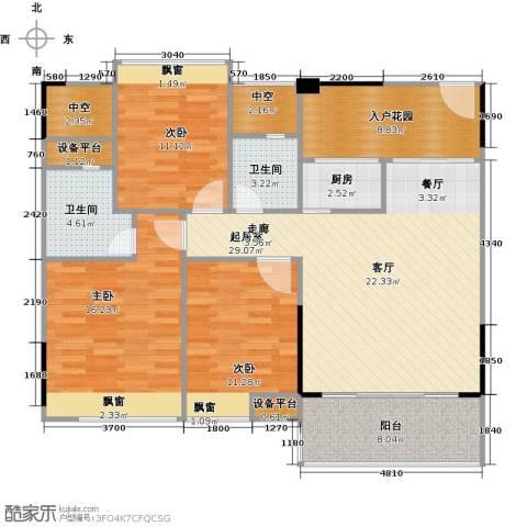 三角科尔玛城3室0厅2卫1厨107.00㎡户型图