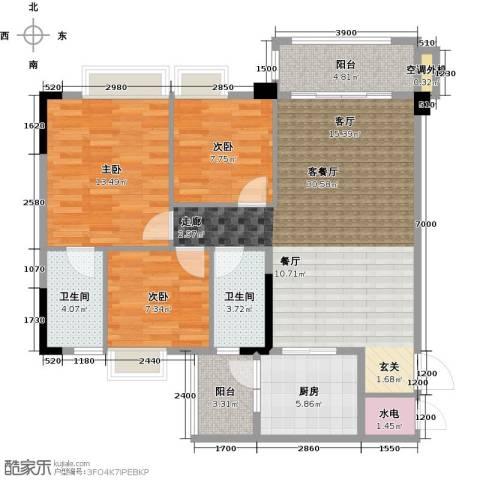 肇庆碧桂园3室1厅2卫1厨100.00㎡户型图