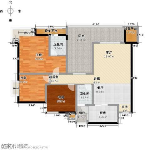锦上华庭铭邸3室0厅2卫1厨112.00㎡户型图