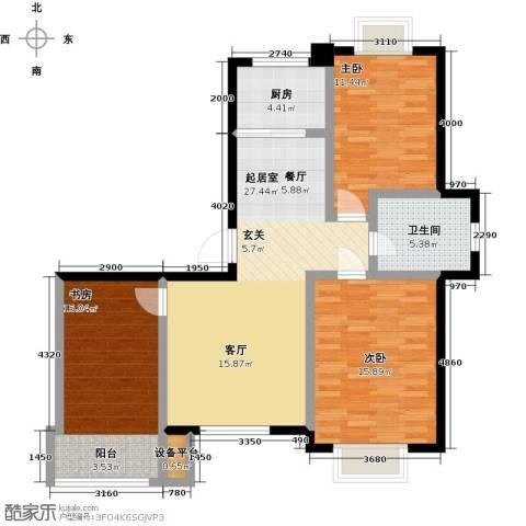 美树日记3室0厅1卫1厨115.00㎡户型图
