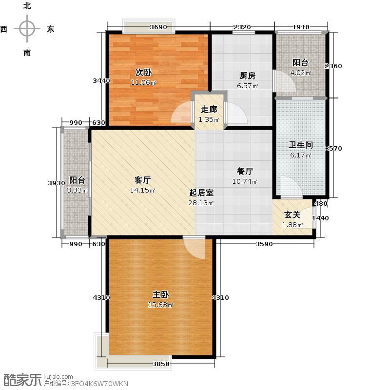 大华阳城花园(七期)80.00㎡房型: 二房; 面积段: 80 -90 平方米;户型