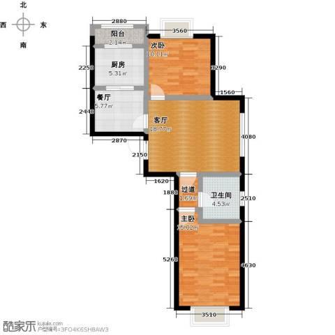 美树日记2室2厅1卫1厨93.00㎡户型图