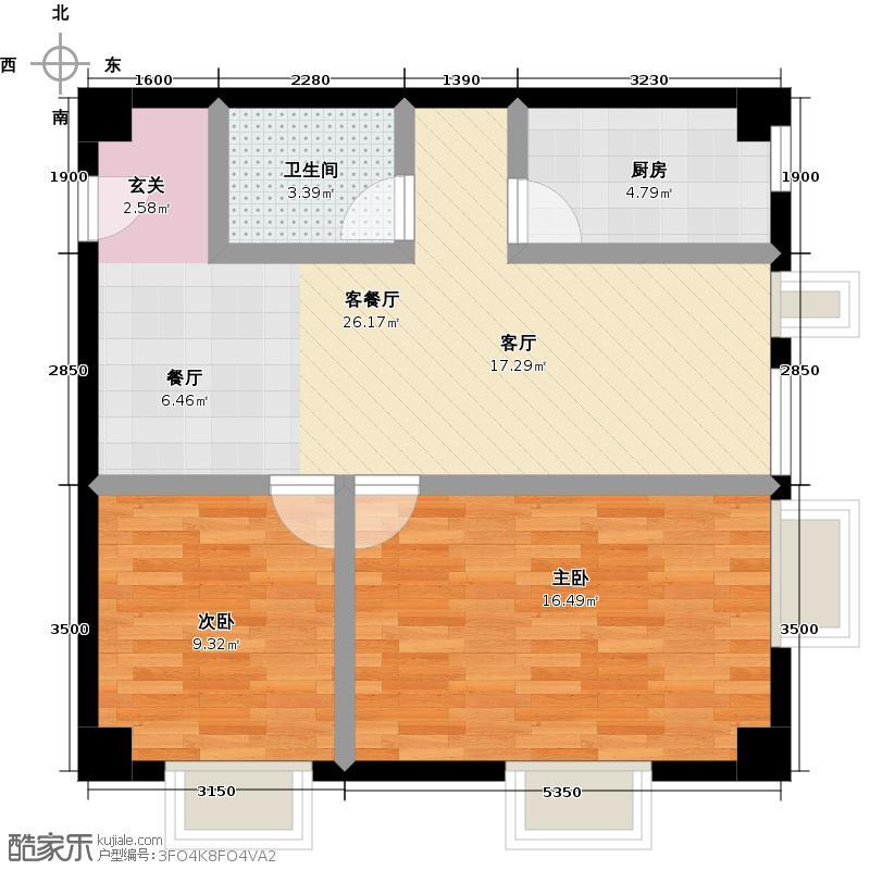 兴盛国际104.51㎡G户型两室两厅一卫户型