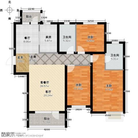 安邦北湾一期3室1厅2卫1厨144.00㎡户型图