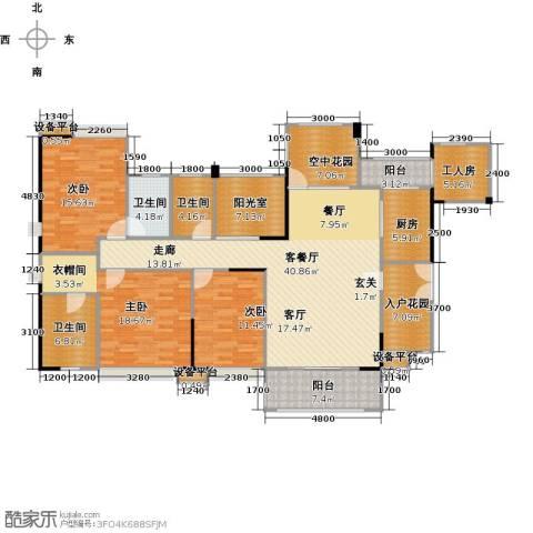 世纪城玫瑰公馆3室1厅3卫1厨198.00㎡户型图