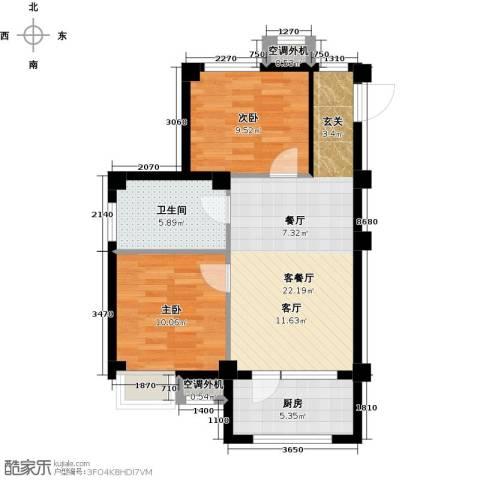 安邦北湾一期2室1厅1卫1厨78.00㎡户型图