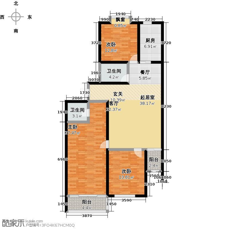 维多利国际广场二期165.66㎡户型E户型3室2厅2卫