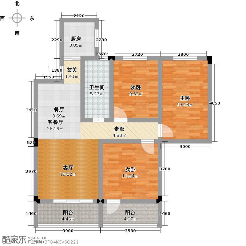 幸福家园户型3室1厅1卫1厨