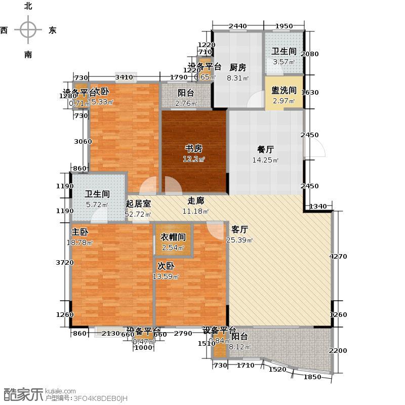 华江.乐天花亭I户型 四室两厅两卫 157.30平方米户型