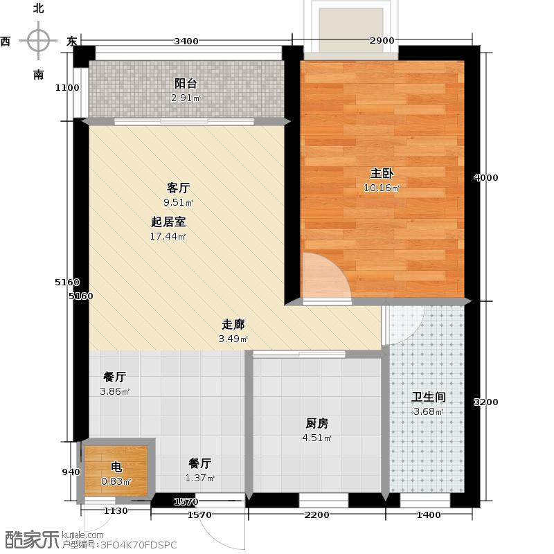 京博雅居54.95㎡18#户型平面图户型1室2厅1卫