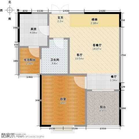 帝豪巴南印象二期1厅1卫1厨47.00㎡户型图