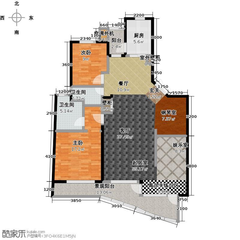 万恒天籁湾130.00㎡海岳阁多层三室两厅两卫户型图户型3室2厅2卫
