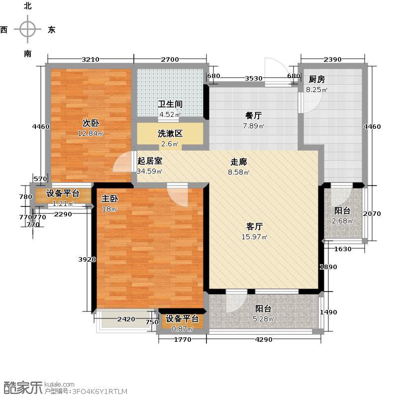 万科金域蓝湾二期100.00㎡两室两厅一卫户型2室2厅1卫