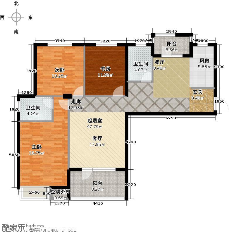 安邦北湾一期三室二厅二卫 约126.65㎡户型
