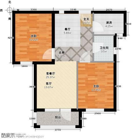 安邦北湾一期2室1厅1卫1厨86.00㎡户型图