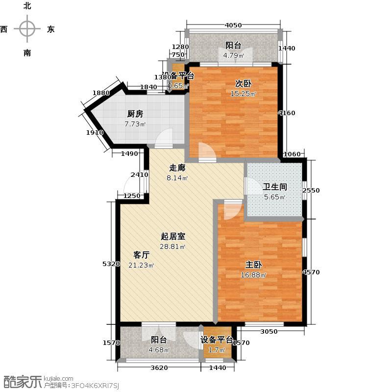 津滨滨海国际2-A 2室1厅1卫平层户型
