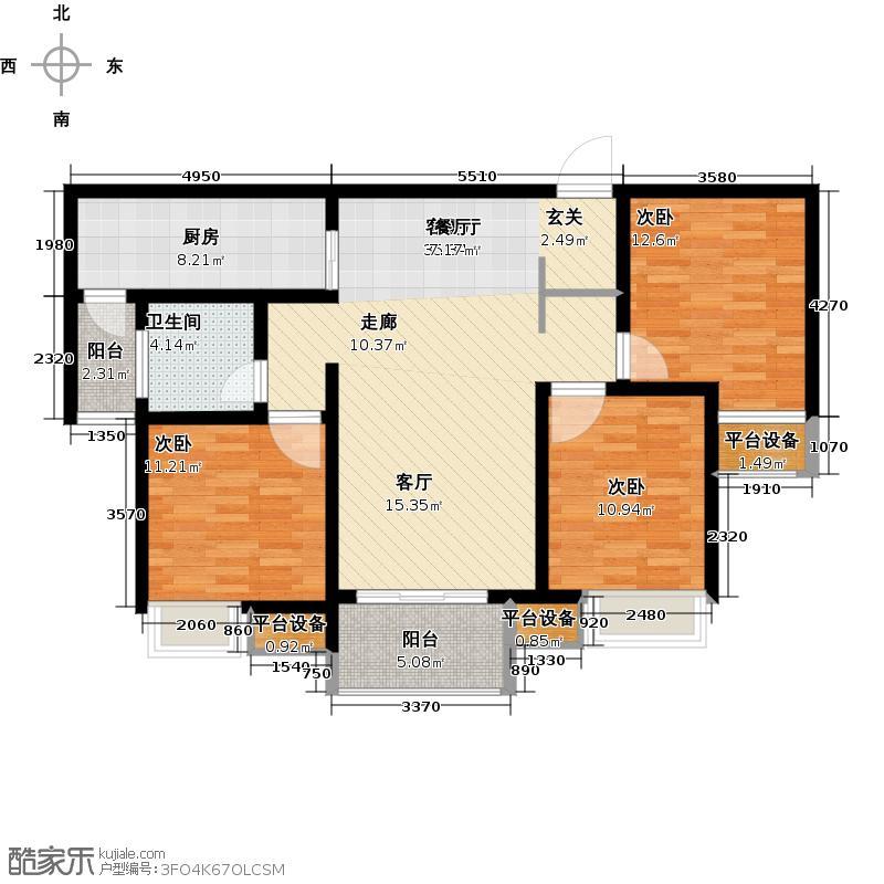 绿地国际花都108.00㎡6#A2户型 三室两厅一卫户型3室2厅1卫