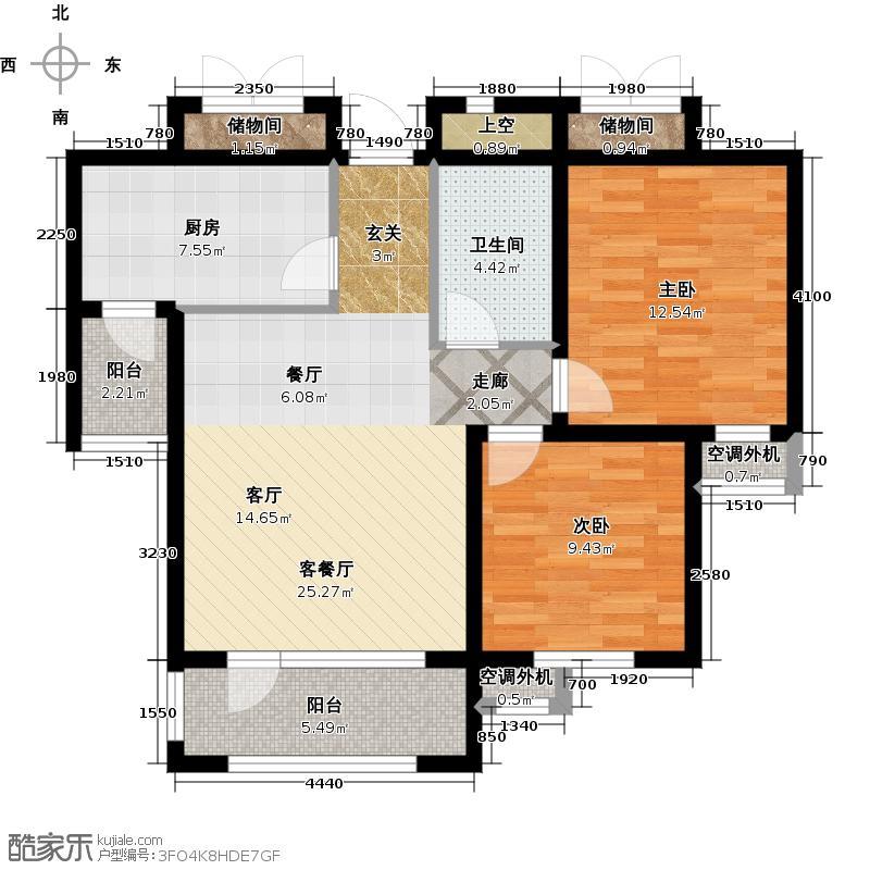 安邦北湾一期80.00㎡两室一厅一卫户型