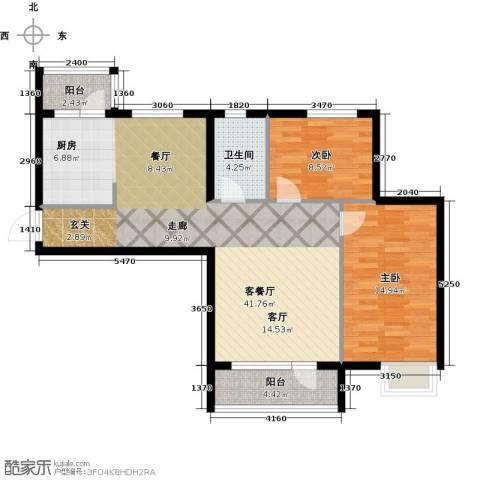 安邦北湾一期2室1厅1卫0厨107.00㎡户型图