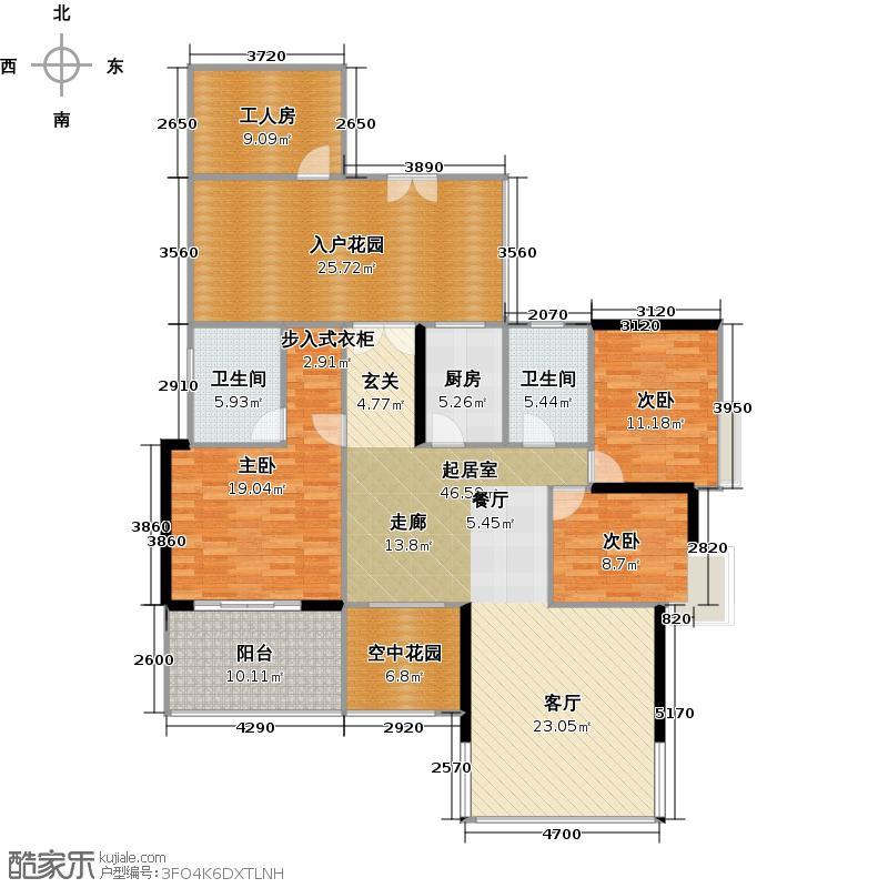 颐和盛世5号楼01单位户型3室2卫1厨