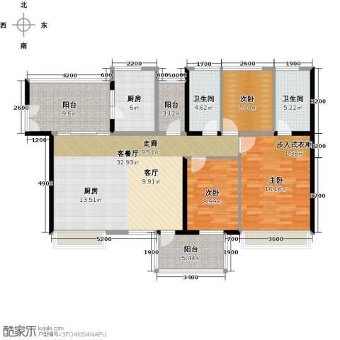 潜龙曼海宁3室1厅2卫1厨121.00㎡户型图