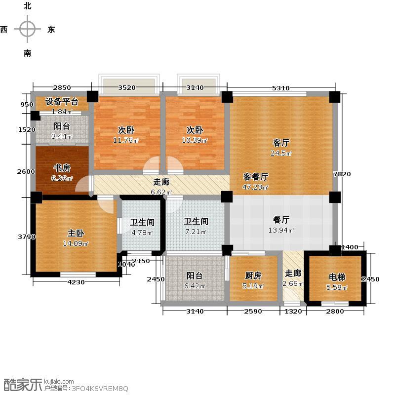凤凰水榭户型4室1厅2卫1厨