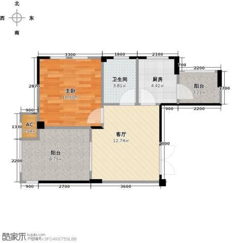 现代森林小镇金融SOHO垂直商业1室1厅1卫1厨51.00㎡户型图