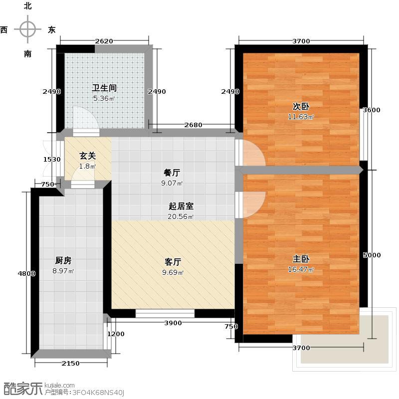 渤海明珠92.26㎡C1户型 2室2厅1卫1厨92.26㎡户型