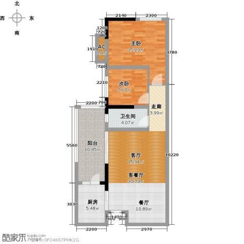 清溪商会大厦2室1厅1卫1厨107.00㎡户型图