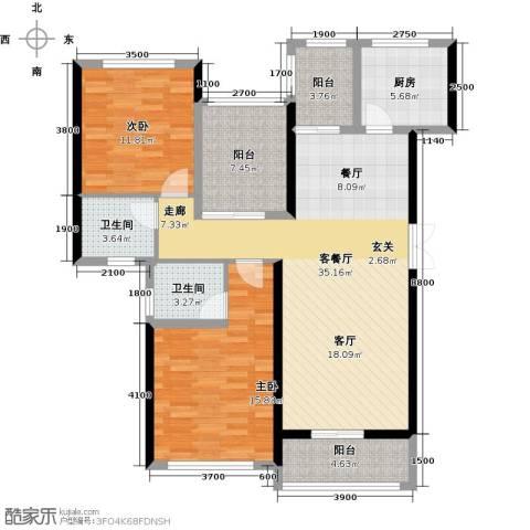 景湖荣郡2室1厅2卫1厨100.00㎡户型图