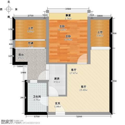 第一国际三期1室1厅1卫1厨75.00㎡户型图