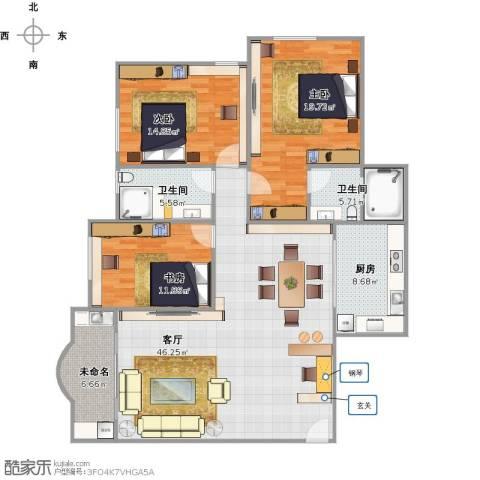 瑞景新村3室1厅2卫1厨159.00㎡户型图