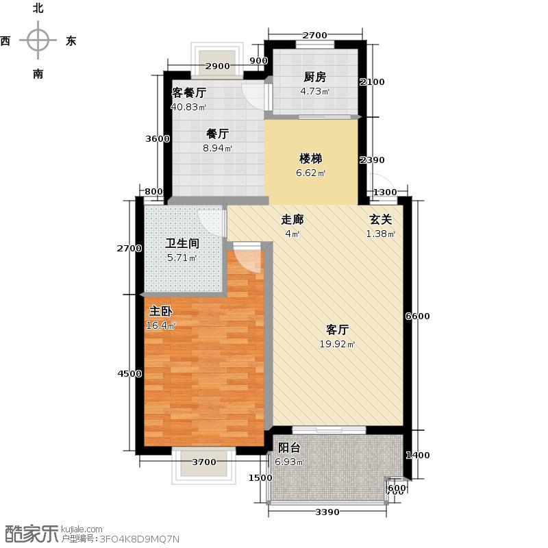 中鼎江岸花城146.16㎡E\\\'户型下层 一房两厅一卫户型1室2厅1卫
