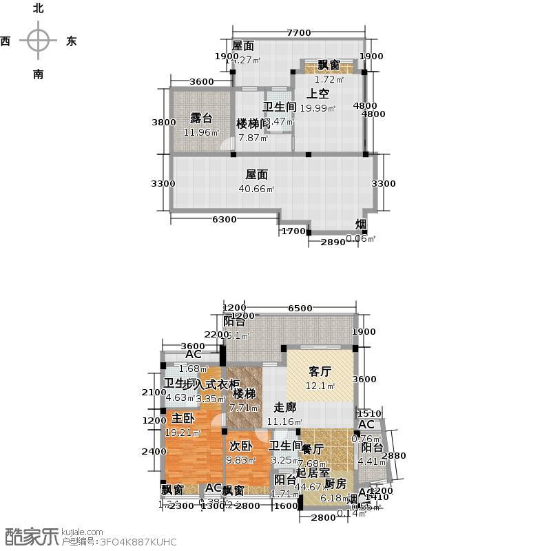 碧园印象桂林130.00㎡61#D3户型:二房二厅三卫户型