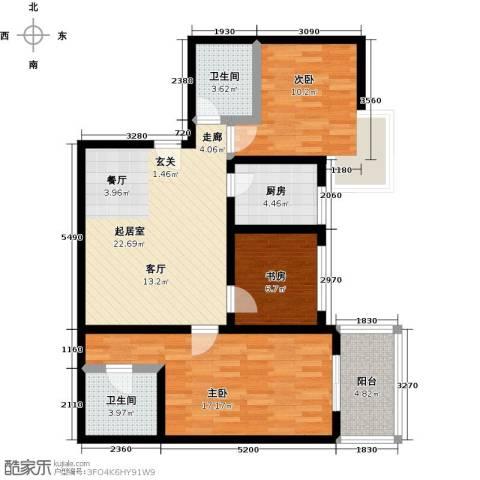 太原西岸3室0厅2卫1厨110.00㎡户型图