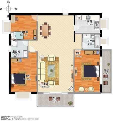 枫林绿洲3室1厅2卫1厨172.00㎡户型图