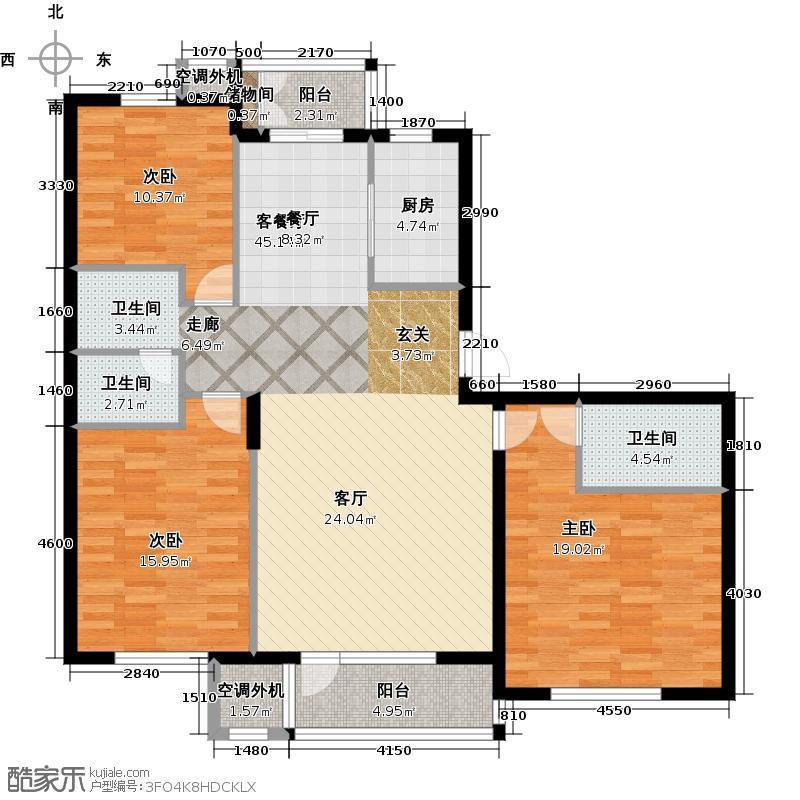 大有恬园二期126.00㎡三室两厅两卫户型