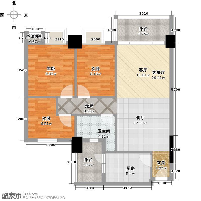 凯旋御景豪庭87.98㎡3室2厅1卫户型