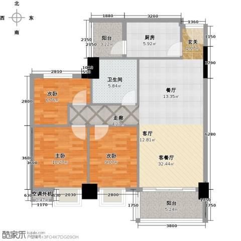凯旋御景豪庭3室1厅1卫1厨89.00㎡户型图