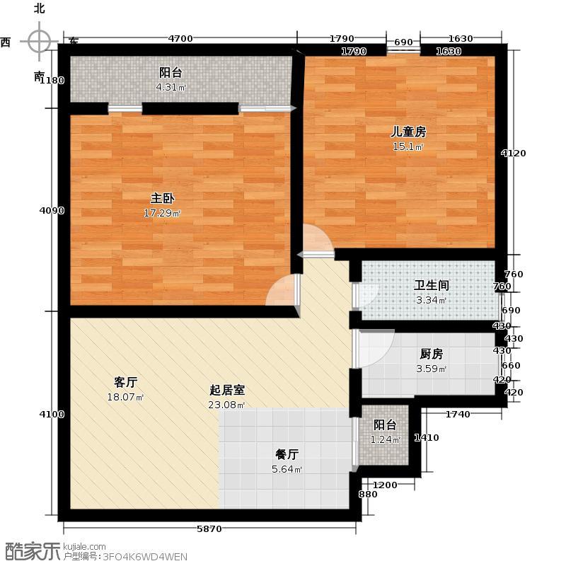 复地爱伦坡(爱伦坡艺墅)80.17平米两室两厅一卫南北通房型户型