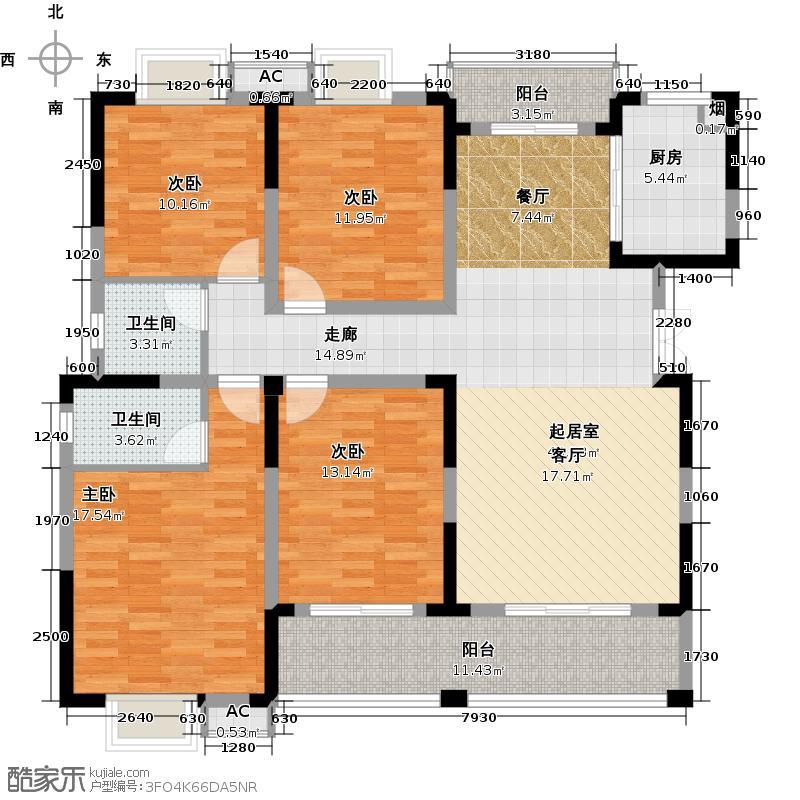 香缇溪岸148.92㎡13号楼E1户型4室2厅2卫