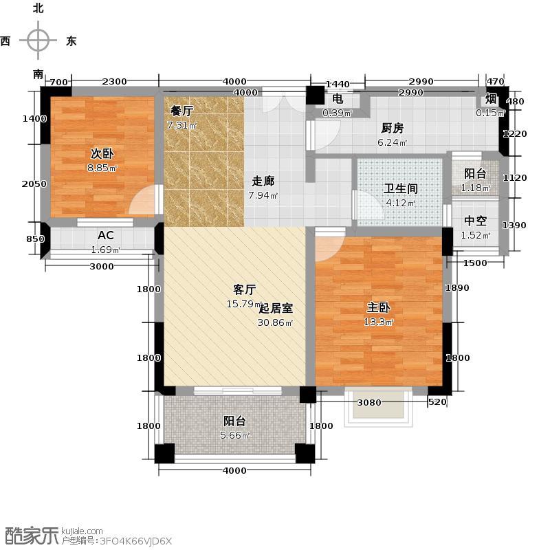华宸东区国际90.00㎡华宸东区国际户型图二期C(2/2张)户型2室2厅1卫