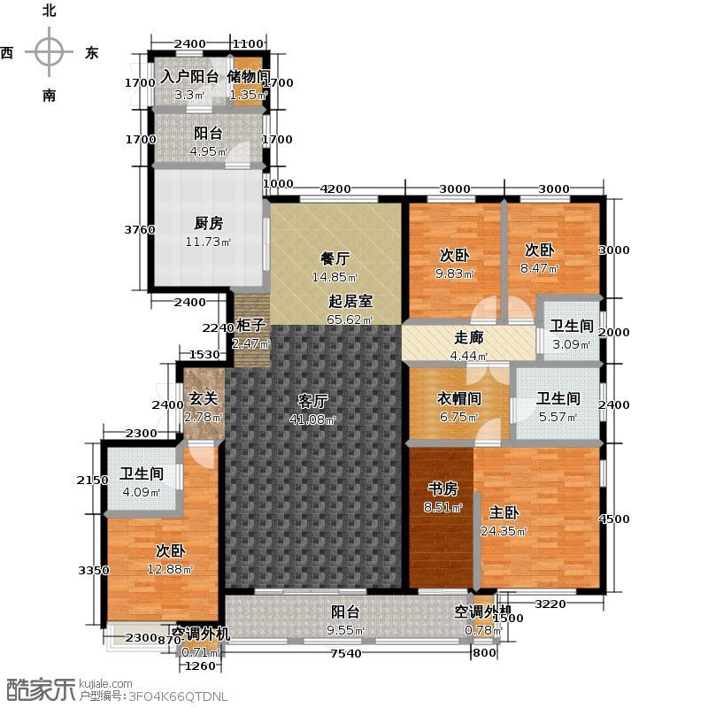 唐山万达广场四室两厅三卫约231平米户型