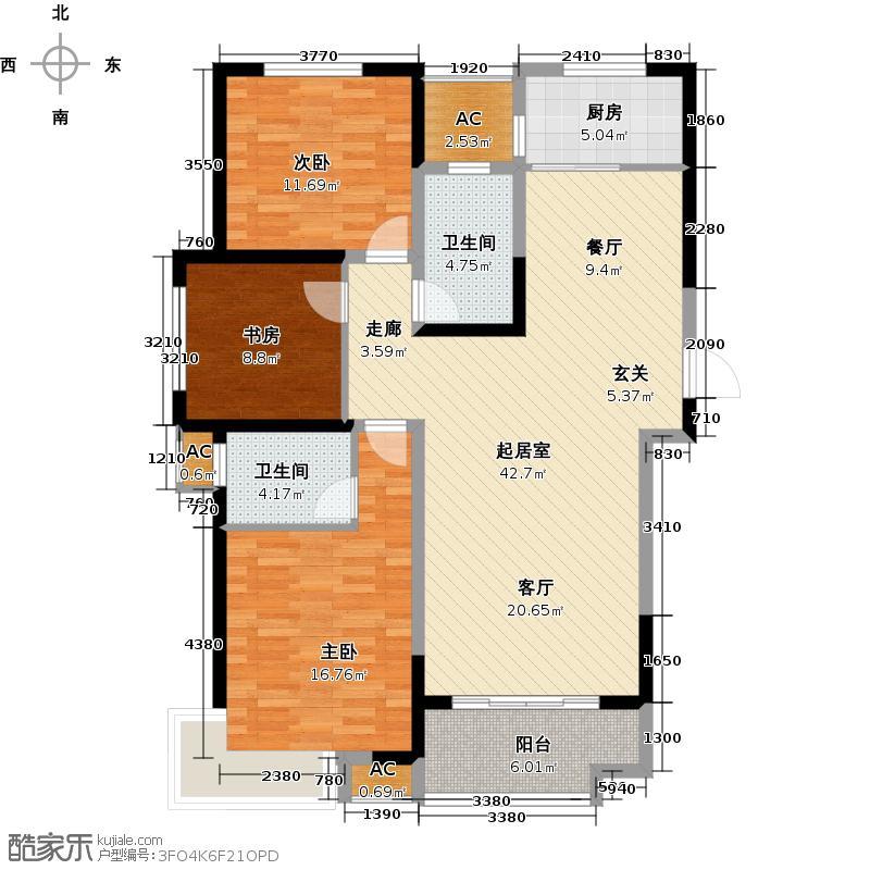 弘景湾119.62㎡标准层A户型3室2厅1卫QQ