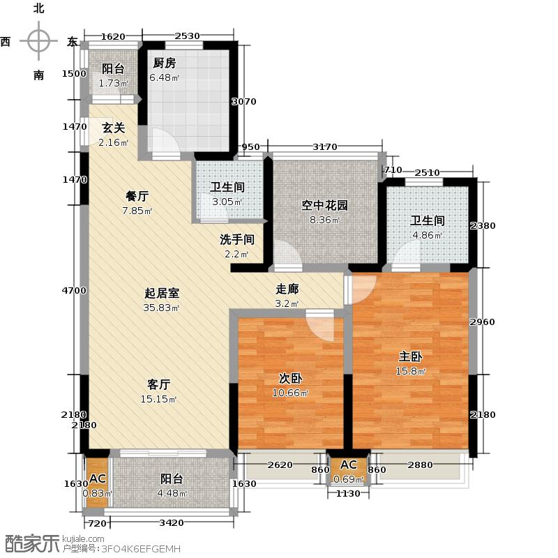青剑湖公馆108.80㎡C3户型3室2厅2卫QQ