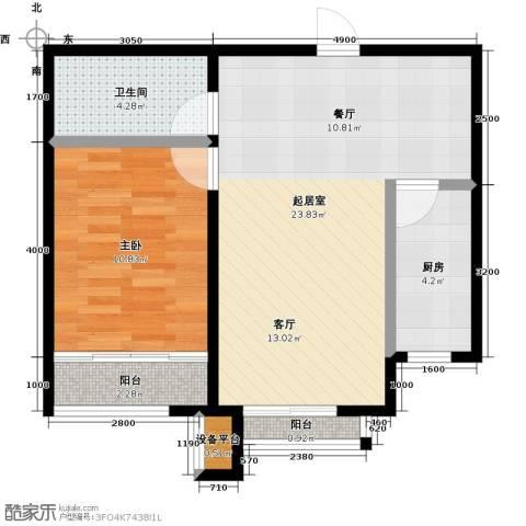 诚安逸品花园1室0厅1卫1厨68.00㎡户型图