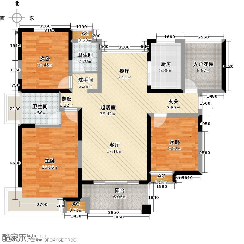 弘景湾117.00㎡4标准层F户型3室2厅2卫QQ