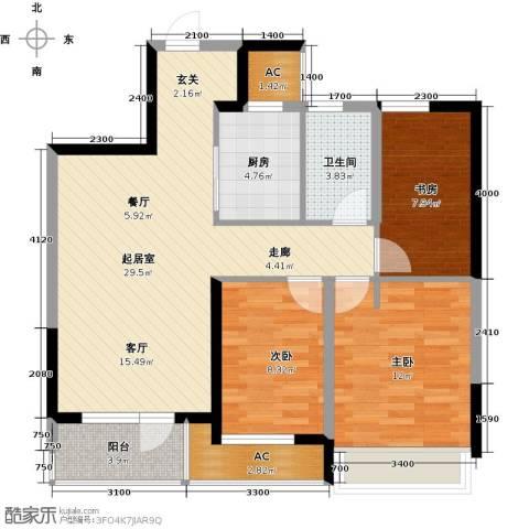 中铁万科香湖盛景3室0厅1卫1厨100.00㎡户型图