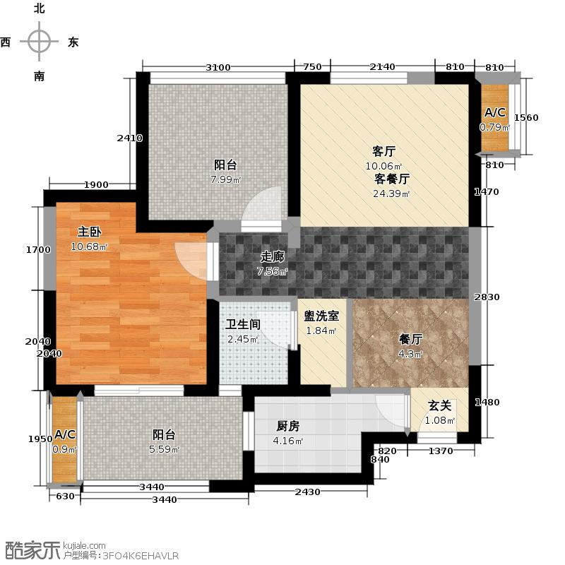 青剑湖公馆67.00㎡D1户型1室1厅1卫X
